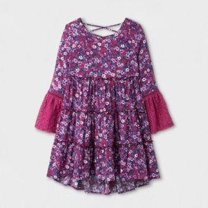 ART CLASS Girls Boho Long-Sleeve Tiered Dress L